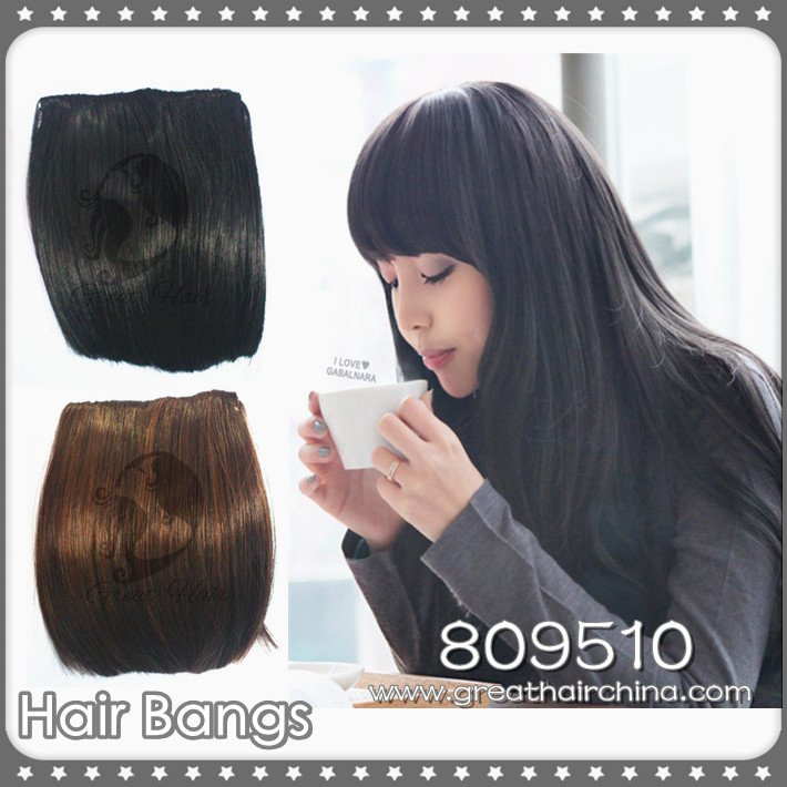 New Fashion Girls Clip on Front Neat Bang / Fringe Hair Extensions 2pieces/lot(China (Mainland))