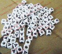 Free Shipping!Wholesale 500Pcs/Lot Single Alphabet /Letter A Acrylic Cube Beads,DIY Beads 6x6mm 619