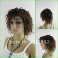 QQ Lady graceful manners lady's short brown curly hair curl women queen Wigs 26""