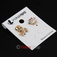 Wholesale - 14pcs Mixed Skull Crown Ear Nail Enamel Zinc Alloy piercing Earring Earings Studs Rings 260782