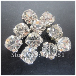 SS38 8mm 720pcs A lot Silver Plating Crystal Color Rhinestone Beads, Sew On Rhinestone Spacer Beads for Garment Jewelry !(China (Mainland))
