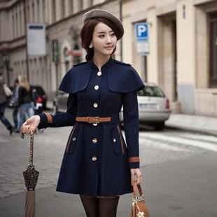 New Korean England Vintage cape coat collar cashmere single breasted coat(China (Mainland))