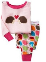 FREE SHIPPING--Hot colorful hedgehog pyjamas sets cute pajamas sets nightclothes long sleeve t-shirts+ pants 1set /lot
