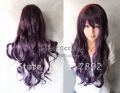 Cos purple black mixed long curly cosplay wig + wig cap