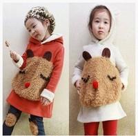 Комплект одежды для девочек Hot selling baby girls 100% cotton fleece thickening with a hood thermal sweatshirt