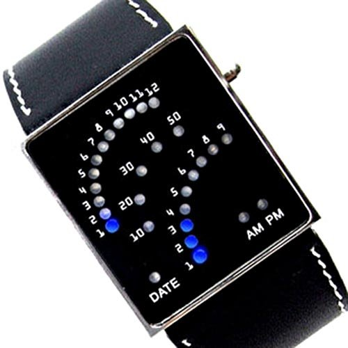 Black Unique Design 29 Binary LED Digital Wrist Watch(China (Mainland))