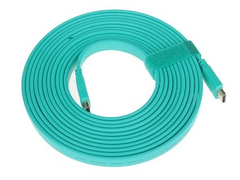 5M 16FT 3D Male-Male Flat Light Blue High Speed HDMI Cable - Supports Ethernet, 3D, and Audio Return