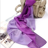 Ladies scarf South Korea han2 ban3 qiu dong chiffon pure color gradient silk gauze kerchief