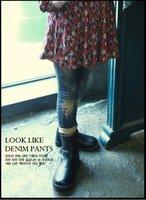 Free shipping  the latest  design  girls winter  Saucy tie-dye plus fleece Jeans, baby denim pants,Blue color