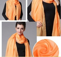 Silk chiffon dress large scarf shawls and super long pattern gauze kerchief