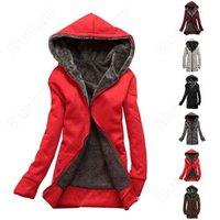 New 2014 Women's Thicker Hoodie Sweater Hooded Zipper Over Coat Fleece Zip Outerwear