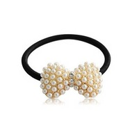 Wholesale -women headwear lovely faux pearl rhinestone bow hair band , hair rope 10pcs/lot free shippingB404