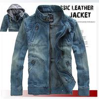Free shipping Men's Hoodie Jeans Jacket coat outerwear hooded Winter coat hoodie denim jacket coat cowboy wear M L-XL