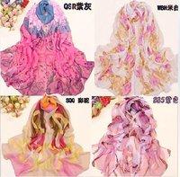 Silk gauze kerchief grows rural printed silk scarves