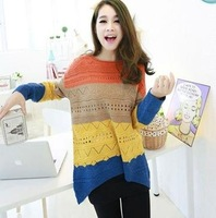 FREE SHIPPING NEW FASHION WOMEN CANDY SPELL COLOR ROUND NECK KNITTED LOOSE JUMPERS SWEATER PULLOVERS
