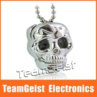 Wholesale 30pcs/lot New Necklace Quartz Gothic Skeleton Skull Head Antique Pocket Watch