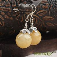 Natural topaz earrings pure silver chain elegant