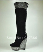 brand leather tall boots strass platform knee high wedge boots women dress shoe