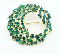 Wester style trendy broochs Y034 gold autumn flashy elegant wreath with full crystal brooch free shipping