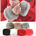 Warm Christmas Winter women coat fur faux wool oversleeps hand ring wristiest gloves fur wrist length warm gloves hot(China (Mainland))