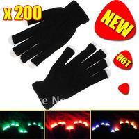 Novelty 7 Mode LED Gloves Glove Rave Light Flashing Finger Lighting Dancing Glow Mittens Magic 200 Pairs / lot