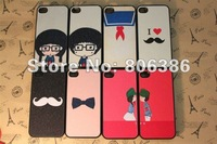Wholesale 200pcs/lot New Fashion Cute Girl BOY beard  iMage Design Pink Red White Hard Back Cover Shell Case For iPhone 4 4S