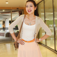 Wt263 thickening sweet candy color sweater small cardigan female