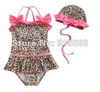 Retail-Hot sale-Freeshipping-Girls Leopard Swimwear Tankini Bather Beach Bikini Swimsuit Tutu Dress SZ2-7Y 2Pcs Set