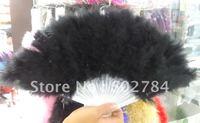Wholesale price 10pcs/lot black promotion turkey feather fan dance performer Halloween party fan free shipping