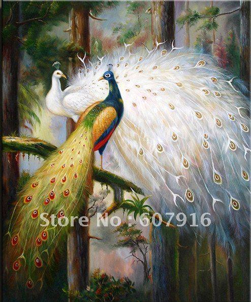 Pintura a óleo Handmade livre da arte do transporte 100% na lona - polegada do pavão 24x36