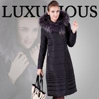Free shipping 2013 winter women's luxury raccoon fur ultra long thermal slim down coat outerwear