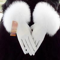 Genuine leather gloves fox fur gloves female sheepskin gloves thermal fleece lined raccoon fur white gloves FREE SHIPPING 2012