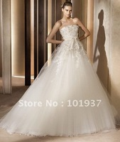 Free Shipping Custom ES03 Popular Strapless Appliques Ivory Elie Saab Wedding Gowns