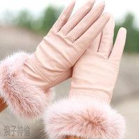 Autumn and winter women's genuine leather rabbit fur gloves 2012 fashion sheepskin leather gloves FREE SHIPPING