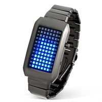 72 LED Watch Blue Matrix Light Stainless Steel Wristwatch Wrist Watch Watches Wristwatches