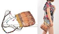 bohemian coffee butterfly straw plaited lady purse shoulder bag sand beach bag