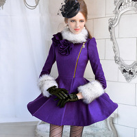 Purple fur collar flower  wool coats for women