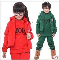 child winter children's clothing three piece set plus velvet thickening sweatshirt male child female child vest casual