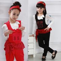 2012 autumn fashion children's clothing child set bow long-sleeve T-shirt bib pants autumn