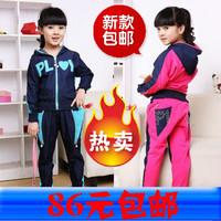 Child female child spring and autumn 2012 denim set autumn child sportswear set
