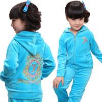 Children's clothing female child autumn 2012 velvet sports set casual set