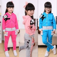 2012 autumn children's clothing autumn female child girl casual clothing sportswear 100% cotton set
