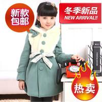 Female child winter outerwear 2012 child fur cotton overcoat medium-long