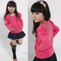 2012 child female child autumn top basic shirt long-sleeve T-shirt lace patchwork princess sleeve
