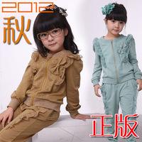 Children's clothing female child autumn set twinset child 2012 autumn 2 piece set sweatshirt outerwear
