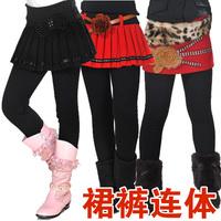Children's clothing female child legging winter thickening plus velvet pleated skirt pants winter skirt legging woolen pants