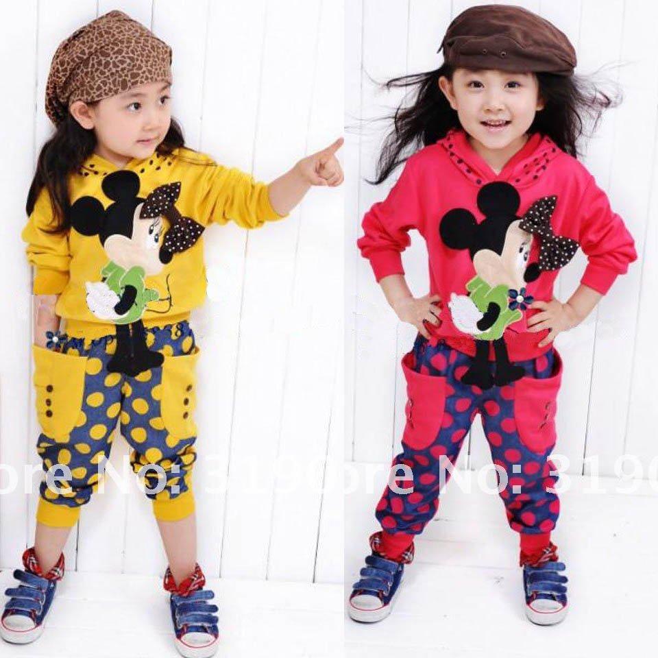 Girls sportwear kids hoodie cartoon spot baby wear 2pcs set