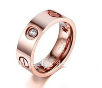 Timeless 18K Rose Gold LOVE Ring,Classic LOVE Series Jewelry,Insert Clear stone,Bless Your Love For One Life,Record Your Love