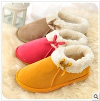 High bag with bowknot plush couple household cotton slippers lovely creative home warm slippers
