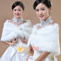 2012 New Factory White Fur Beaded Formal Bridal Wraps 3 Colors